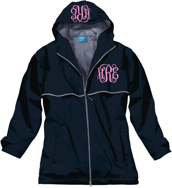 Double Monogrammed Raincoat Windjacket   www.tinytulip.com Navy with Preppy Pink Interlocking Monogram