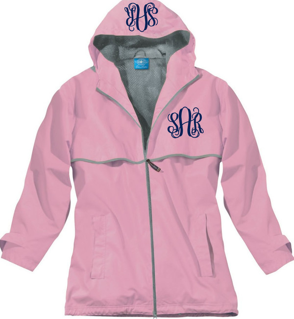 Double Monogrammed Raincoat Windjacket   www.tinytulip.com Pink with Navy Interlocking Monogram