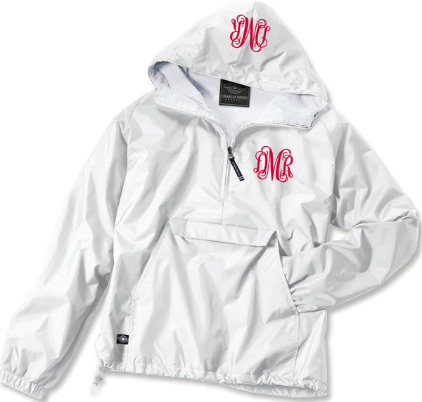 Double Monogrammed Pullover Wind Jacket  www.tinytulip.com Red Interlocking Font