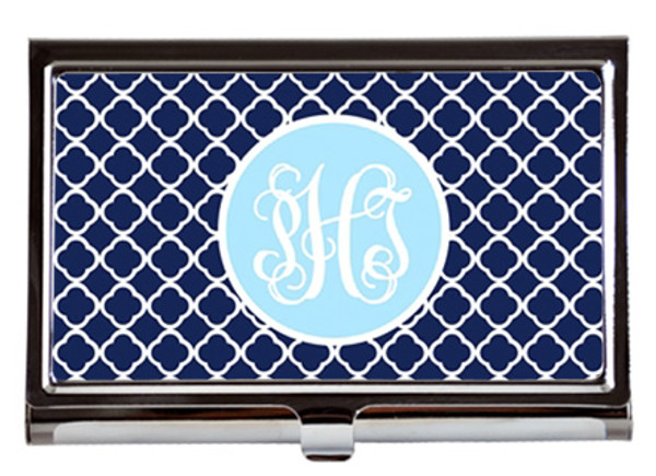 Monogrammed Business Card Case  www.tinytulip.com Navy Tiles with Solid Circle Baby Blue Interlocking Font
