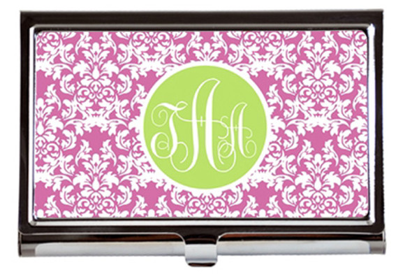 Monogrammed Business Card Case  www.tinytulip.com Lilly Pink Damask with Solid Circle Lime Green Interlocking Font