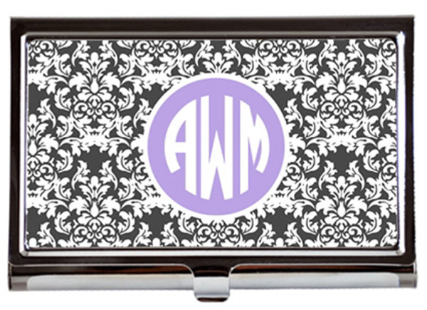 Monogrammed Business Card Case  www.tinytulip.com Gray Damask with Solid Circle Lavender Circle Font