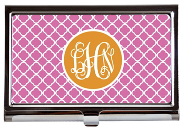 Monogrammed Business Card Case  www.tinytulip.com Lilly Pink Tiles with Solid Circle Orange Interlocking Font