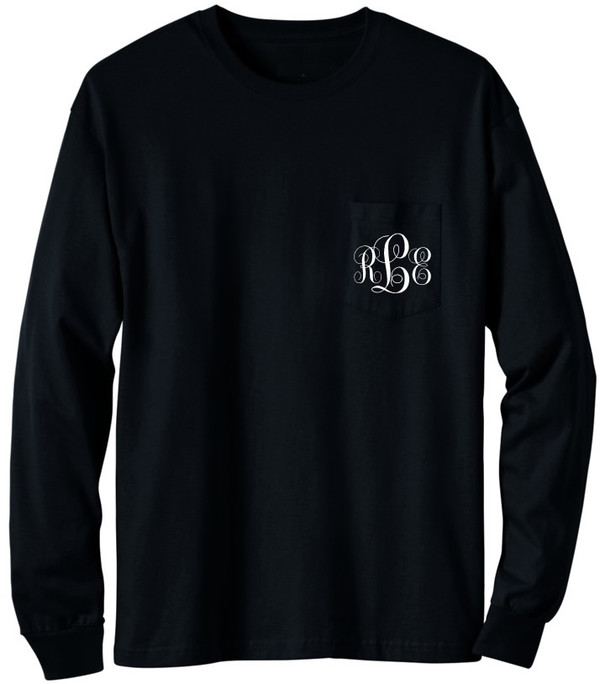 Long Sleeve Monogrammed T Shirt   www.tinytulip.com Black with White Emma Monogram