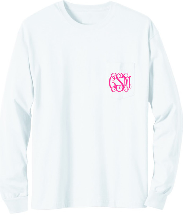 Long Sleeve Monogrammed T Shirt   www.tinytulip.com White with Hot Pink Interlocking Monogram