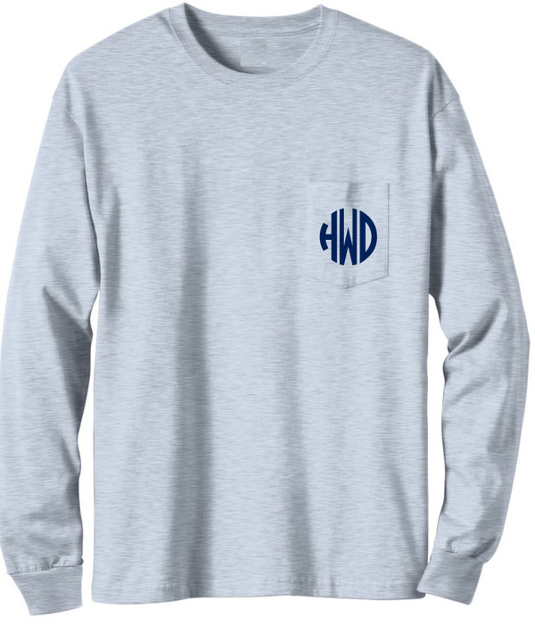 Long Sleeve Monogrammed T Shirt   www.tinytulip.com Gray with Navy Circle Monogram