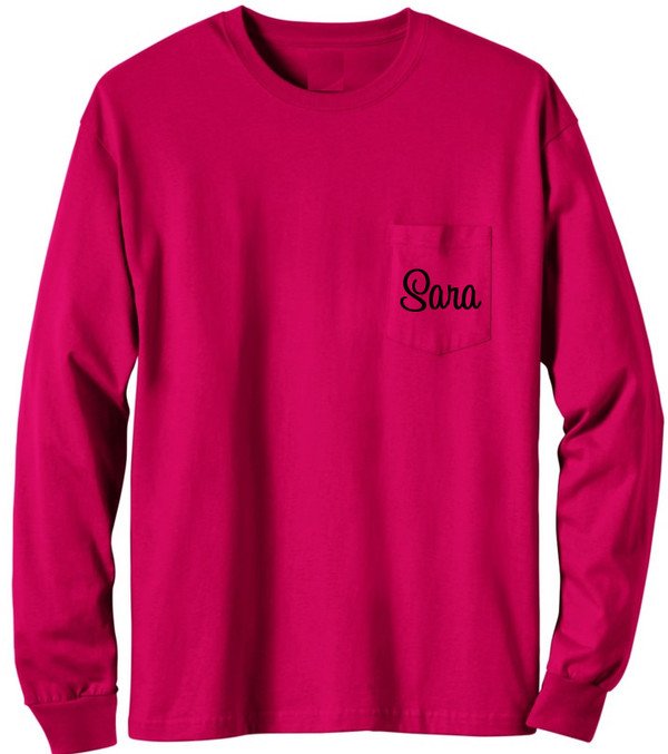 Long Sleeve Monogrammed T Shirt   www.tinytulip.com Red with Black Cursive Font