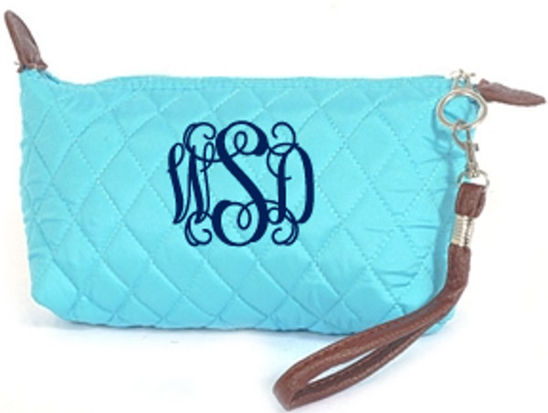 Monogrammed Quilted Wristlet Clutch   www.tinytulip.com Turquoise with Navy Interlocking Font