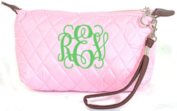 Monogrammed Quilted Wristlet Clutch   www.tinytulip.com Pink with Lime Green Interlocking Font