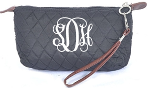 Monogrammed Quilted Wristlet Clutch   www.tinytulip.com Black with White Interlocking Font