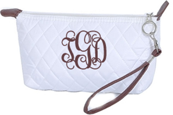 Monogrammed Quilted Wristlet Clutch   www.tinytulip.com White with Brown Interlocking Font