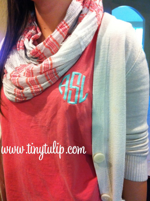 Monogrammed Bro Tank Top  www.tinytulip.com Watermelon Tank with Circle Monogram in Turquoise