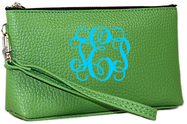 Monogrammed Leatherette Wristlet www.tinytulip.com Green with Turquoise Interlocking