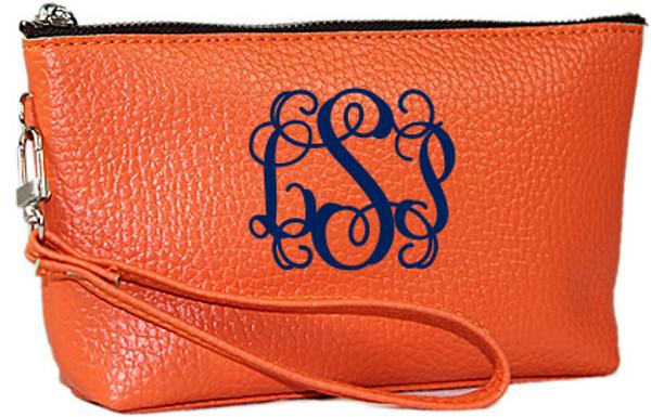 Monogrammed Leatherette Wristlet www.tinytulip.com Orange with navy interlocking