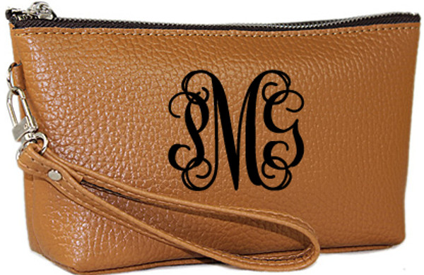 Monogrammed Leatherette Wristlet www.tinytulip.com Brown with Black Interlocking