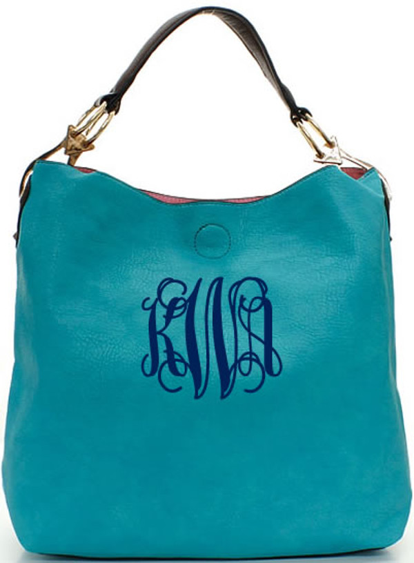 Monogrammed Mackenzie Bag www.tinytulip.com Turquoise with Navy Interlocking Font