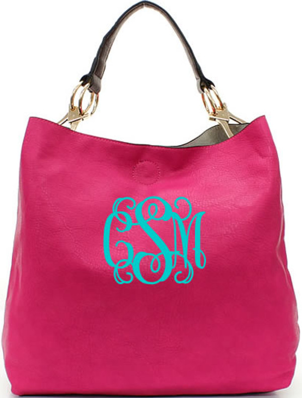 Monogrammed Mackenzie Bag www.tinytulip.com Hot pink with turquoise interlocking font