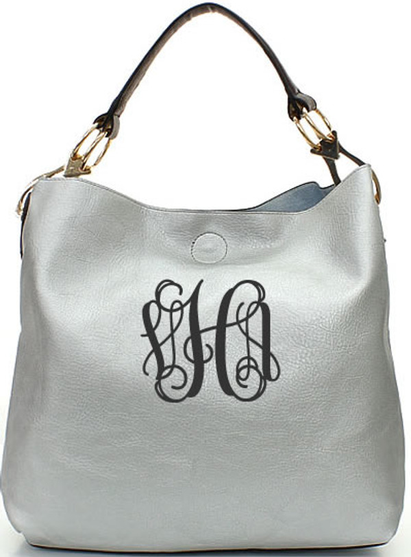 Monogrammed Mackenzie Bag www.tinytulip.com Silver with Charcoal Gray Interlocking font