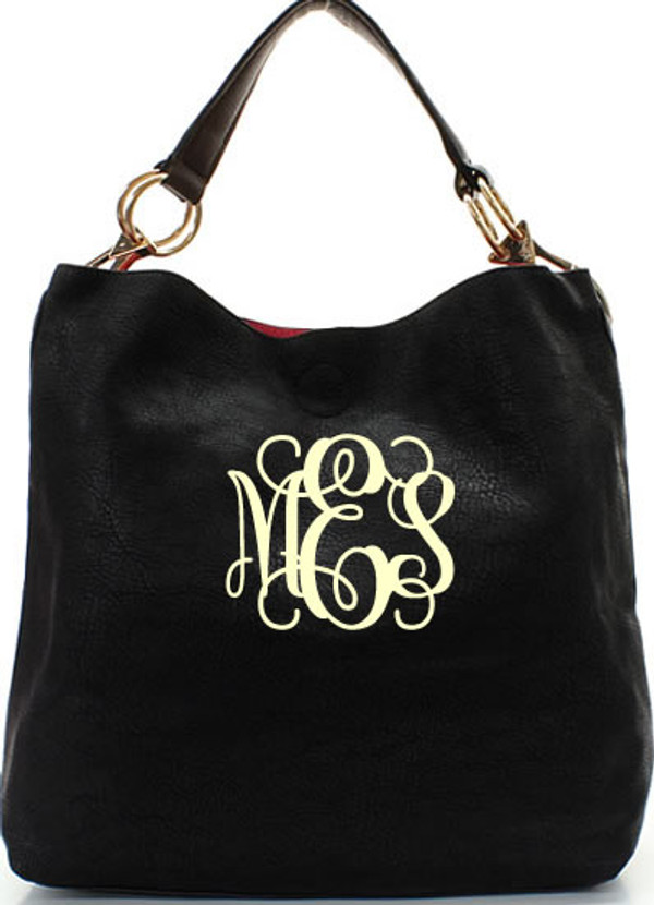 Monogrammed Mackenzie Bag www.tinytulip.com Black with Cream Interlocking Font