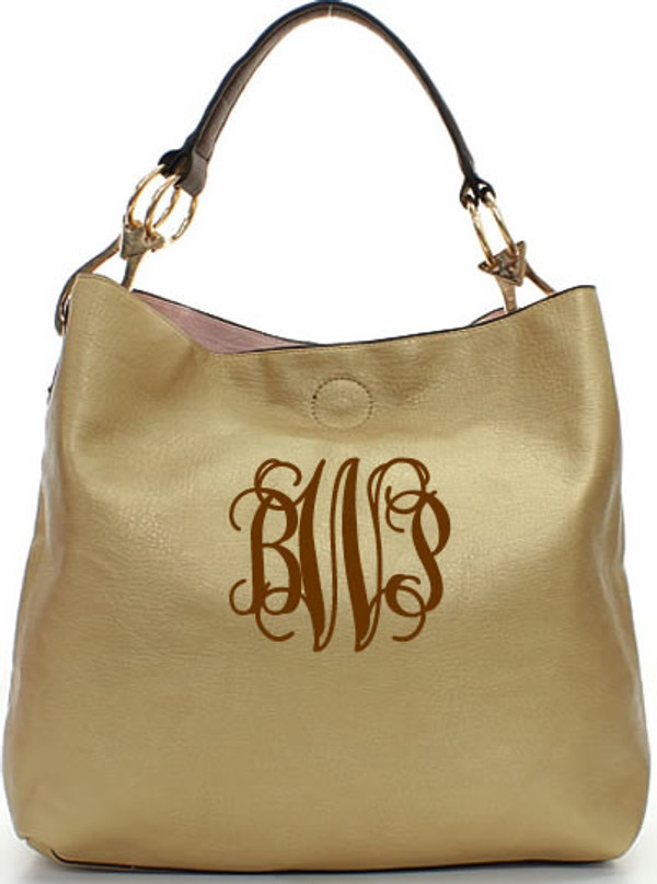 Monogrammed Mackenzie Bag www.tinytulip.com Gold with Brown Interlocking Font
