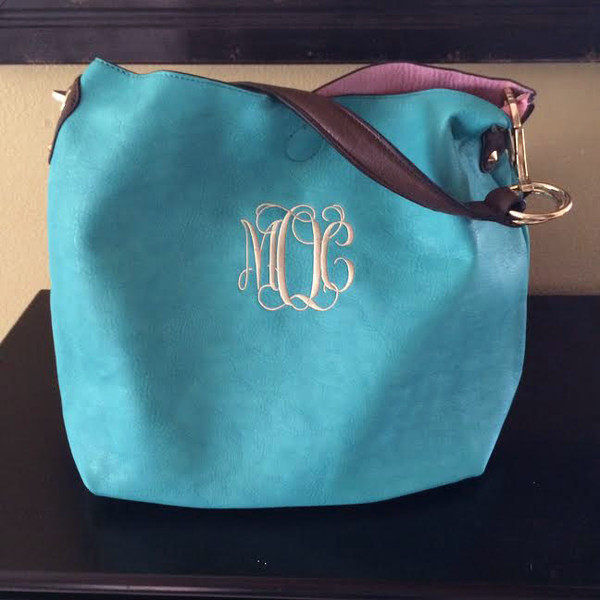 Monogrammed Mackenzie Bag www.tinytulip.com Turquoise with Cream Interlocking Font