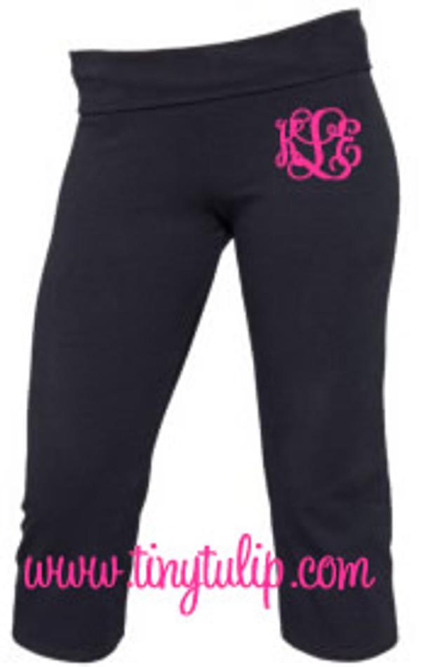 Monogrammed Capri Yoga Work Out Pants  www.tinytulip.com Hot Pink Interlocking Font
