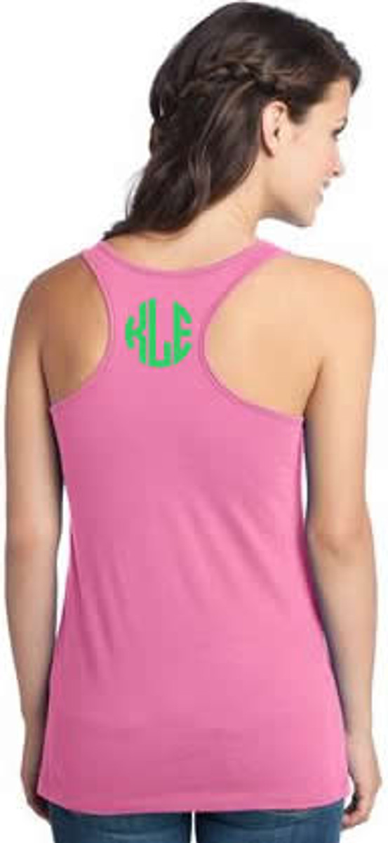 Monogrammed Solid Racerback Tank www.tinytulip.com Neon Pink withLime Green Circle Font
