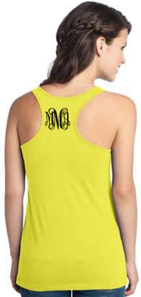 Monogrammed Solid Racerback Tank www.tinytulip.com Neon Yellow with Black Interlocking Font