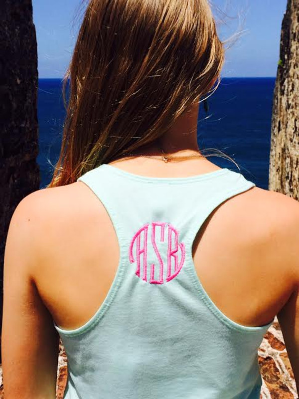 Monogrammed Solid Racerback Tank www.tinytulip.com Mint with Preppy Pink Seal Font