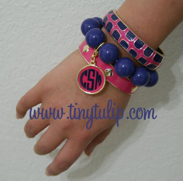 Monogrammed Enamel Bracelet Set Navy & Pink Set