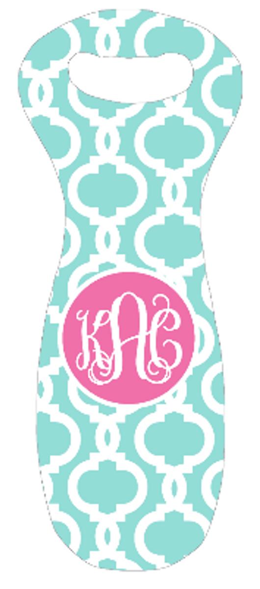 Monogrammed Wine Bag Tote Koozie  www.tinytulip.com Aqua Casino Pattern with Solid Circle Lilly Pink Interlocking Font