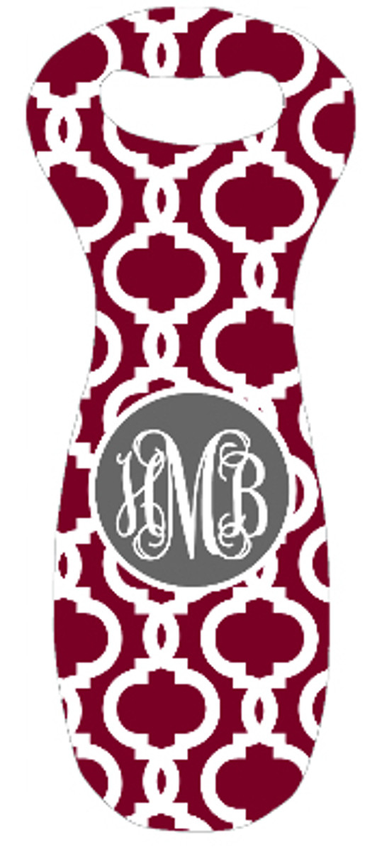 Monogrammed Wine Bag Tote Koozie  www.tinytulip.com Garnet Casino Pattern with Solid Circle Charcoal Gray Interlocking Font