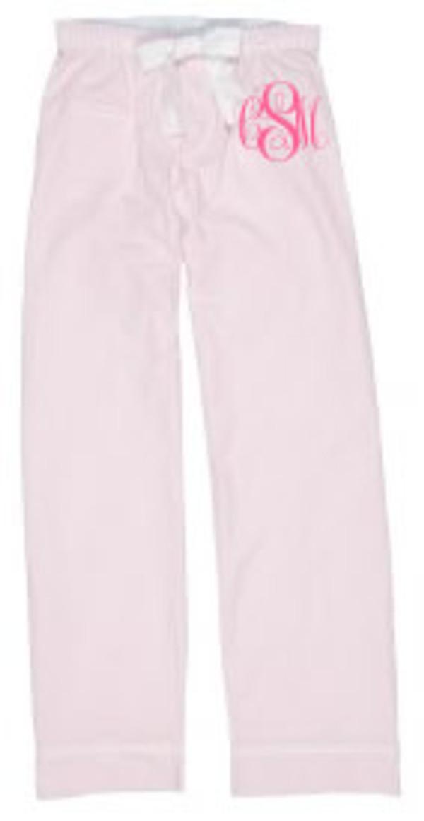 Monogrammed Seersucker Lounge Pajama Pants  www.tinytulip.com Pink Seersucker Pants with Preppy Pink Emma Font