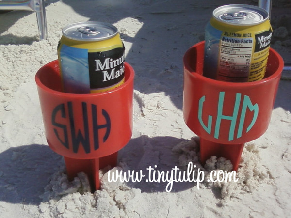 Monogrammed Spiker Beach Beverage Holder  www.tinytulip.com Red with Navy Circle Font, Red with Teal Circle Font