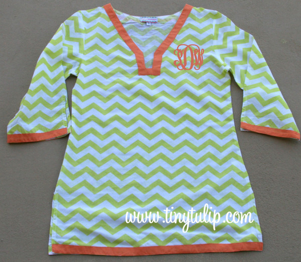 Monogrammed Chevron Tunic Shirt Swimsuit Cover Up  www.tinytulip.com Lime Green Tunic with Orange Interlocking Font
