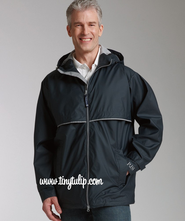 Monogrammed Mens Navy Raincoat Windjacket  www.tinytulip.com