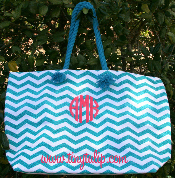 Monogrammed Chevron Jute Tote  www.tinytulip.com Turquoise Coral Circle Font