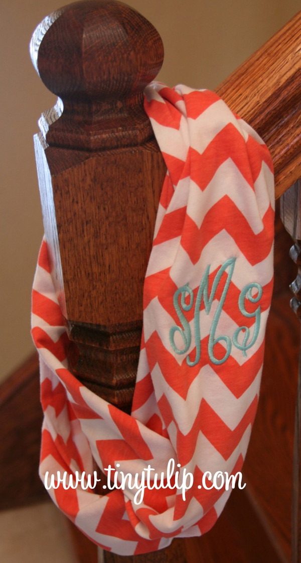 Chevron Infinity Loop Scarf Monogrammed  www.tinytulip.com Coral with Turquoise Empire Monogram