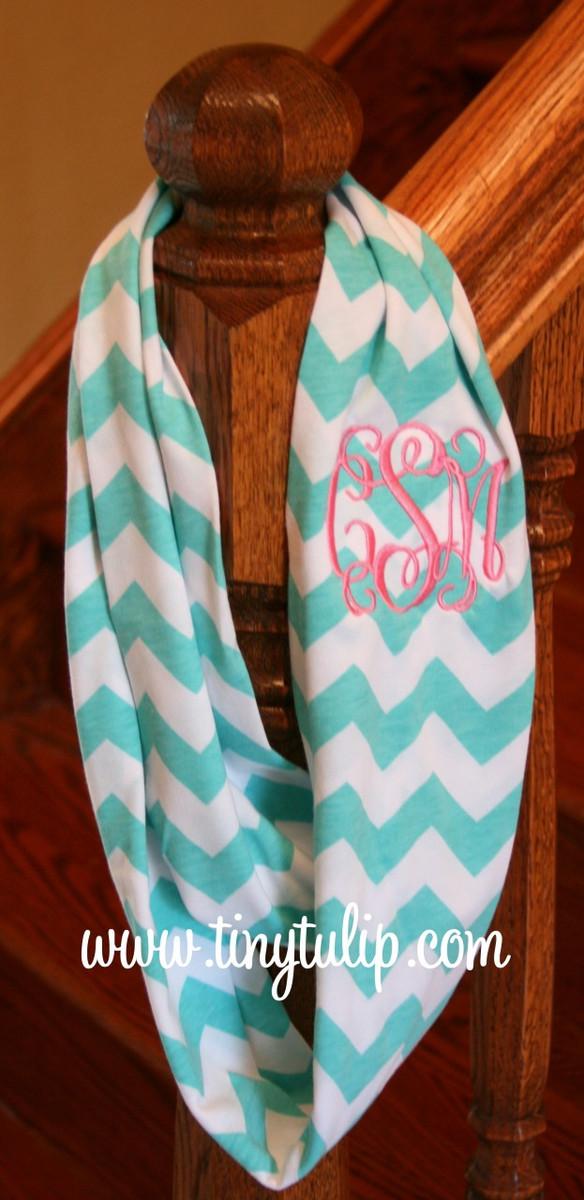 Chevron Infinity Loop Scarf Monogrammed  www.tinytulip.com Turquoise with Preppy Pink Interlocking Monogram