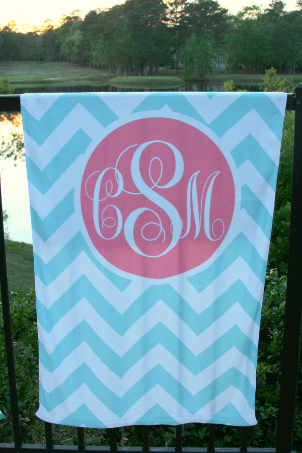 Personalized Beach Towel Monogrammed   www.tinytulip.com Aqua Chevron with Solid Circle Coral Emma Script Font