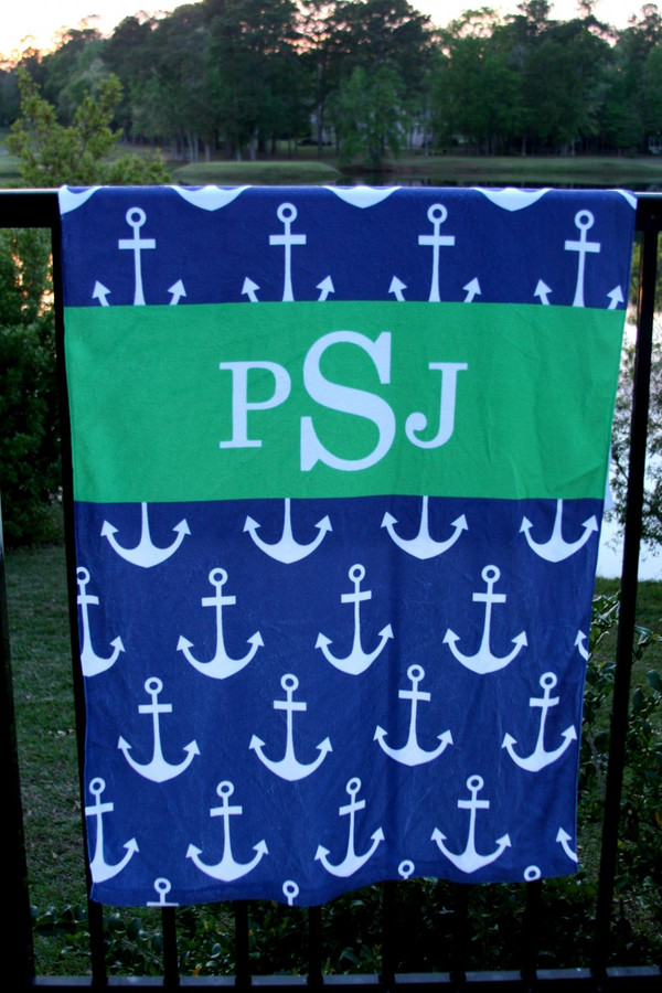 Personalized Beach Towel Monogrammed   www.tinytulip.com Navy Anchors with Solid RibbonKelly Green Romana Font