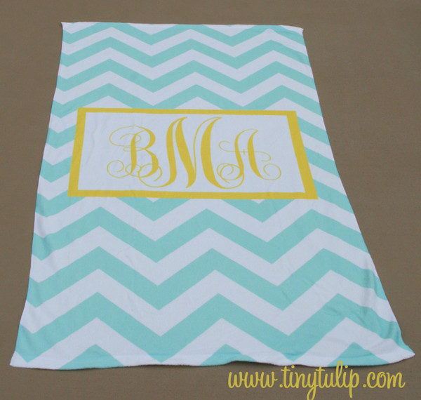 Personalized Beach Towel Monogrammed   www.tinytulip.com Aqua Chevron with Yellow Hollow Rectangle Emma Font
