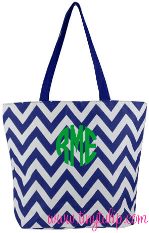 Navy Chevron Large Bucket Tote