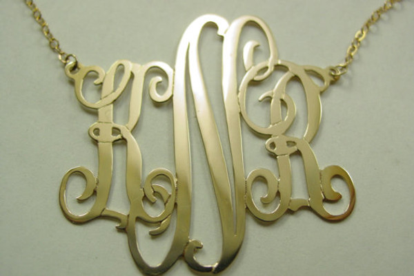 Sterling Silver Emma Font Monogrammed Necklace  www.tinytulip.com Yellow Gold Plating