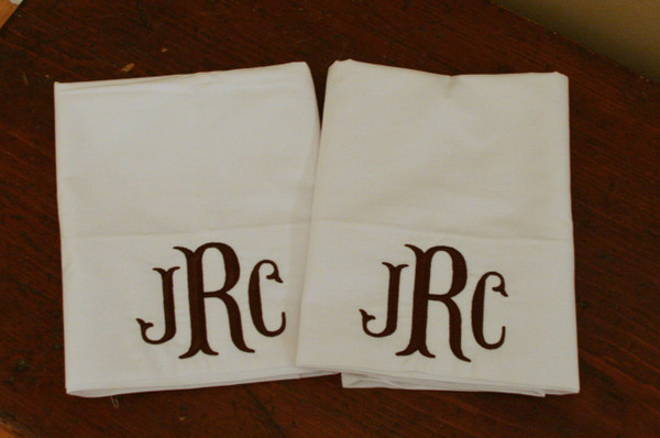 Monogrammed Pillowcase   www.tinytulip.com Brown Fishtail Font