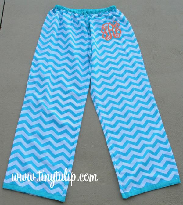 Monogrammed Chevron Lounge Pajama Pants  www.tinytulip.com Turquoise Pants with Orange Interlocking Font