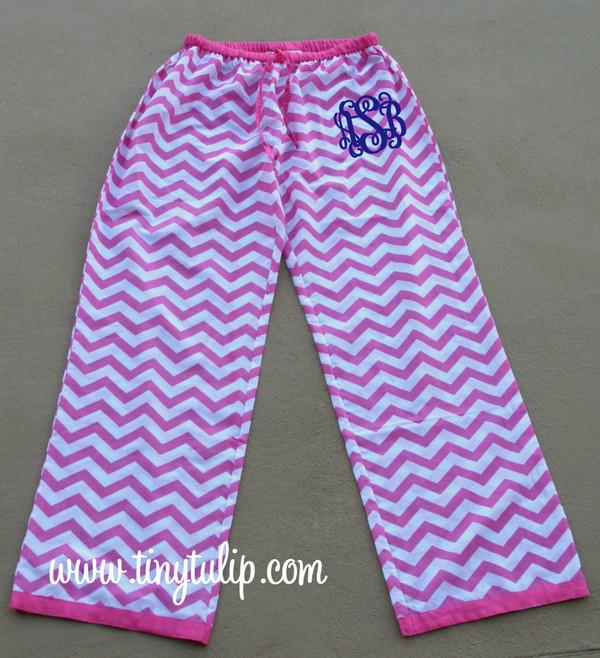 Monogrammed Chevron Lounge Pajama Pants  www.tinytulip.com Hot PInk Pants with Navy Interlocking Font