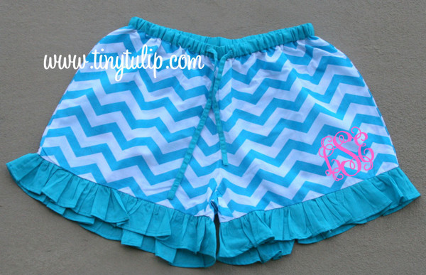 Monogrammed Chevron Ruffle Lounge Shorts  www.tinytulip.com Turquoise Shorts with Preppy Pink Interlocking Font