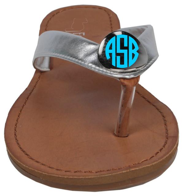 Monogrammed Gold Charm Sandal Flip Flops