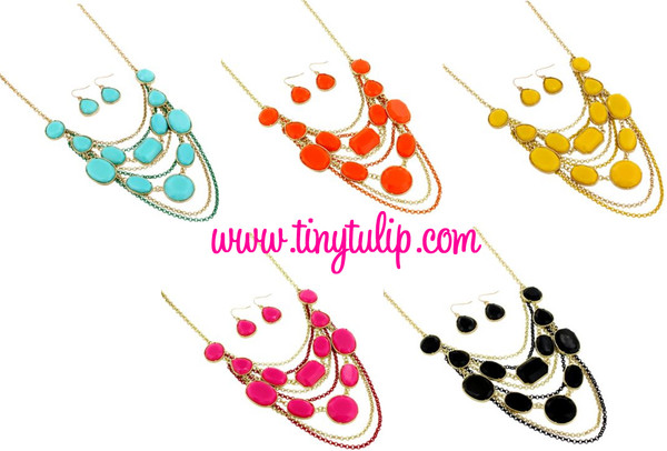 Layered Gem Chain Necklace & Earring Set  www.tinytulip.com